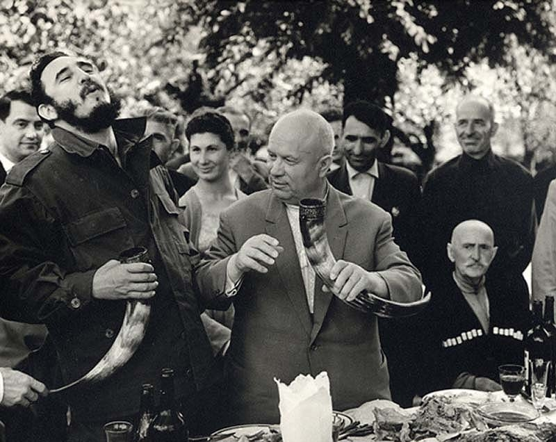 fidel-castro-and-nikita-khrushchev-drinking-wine-from-a-drinking-horn-in-the-soviet-republic-of-georgia-1963